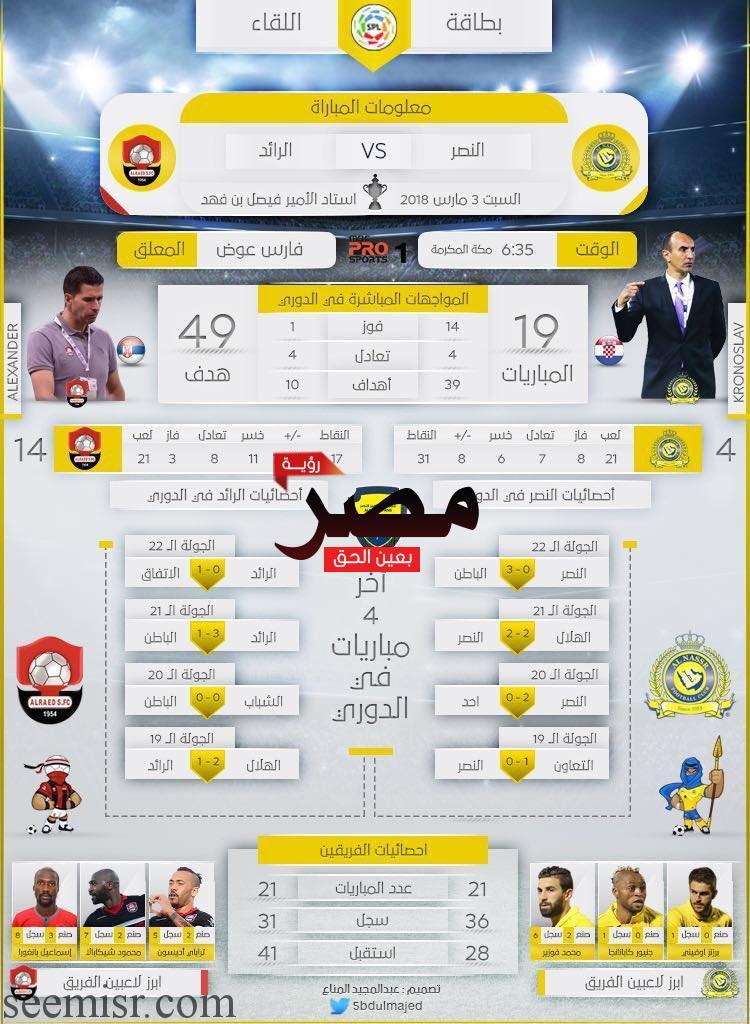 بث مباشر مباراة النصر والرائد السعودي اليوم