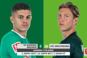 يلا شوت مشاهدة بث مباشر مباراة فيردر بريمن وفولفسبورج اليوم الأحد 7-6-2020 في الدوري الألماني