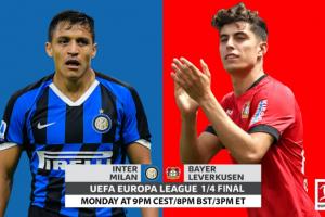 يلا شوت مشاهدة بث مباشر مباراة إنتر ميلان وباير ليفركوزن اليوم الإثنين 10-8-2020 في الدوري الأوروبي