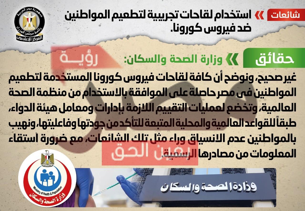 حقيقة استخدام لقاحات تجريبية لتطعيم المواطنين في مصر ضد فيروس كورونا